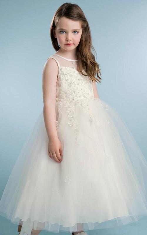 Jeweled Satin Layered Tea-Length Tulle Flower Girl Dress