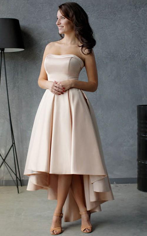 Sleeveless Ruffled High-Low A-Line Zipper Pleated Dress
