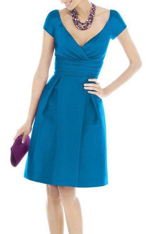 Short Pleated V-Neckline Cap-Sleeve Satin Dress