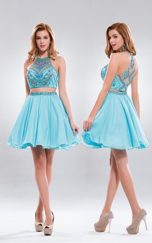 2-Piece Illusion Chiffon Pleated Jeweled A-Line Short High-Neck Mini Sleeveless Dress