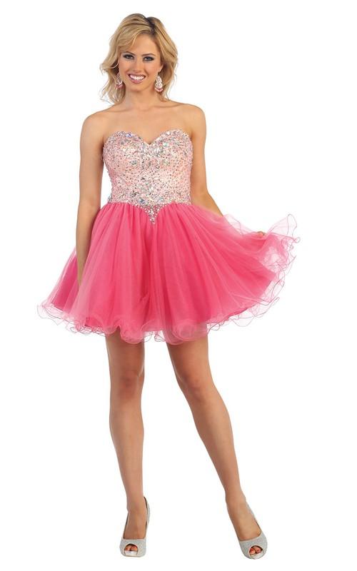 A-Line Backless Tulle Ruffled Jeweled Short Mini Strapless Sweetheart Sleeveless Dress