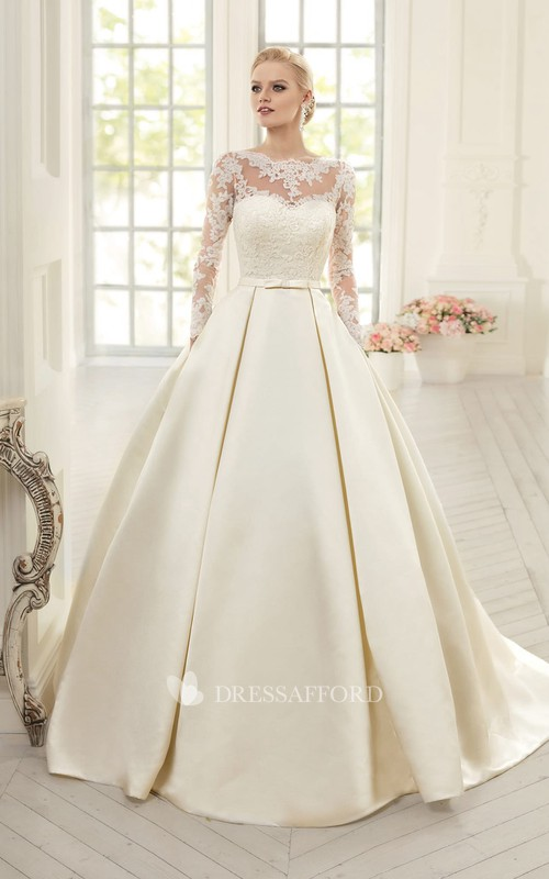 Ball Gown Floor-Length Jewel Long-Sleeve Corset-Back Satin Dress With Appliques