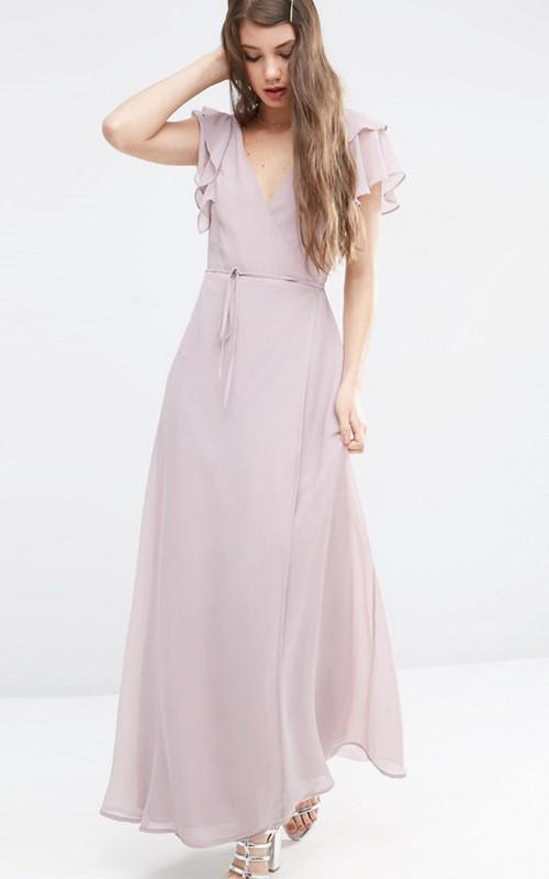 V-neck Poet-sleeve Chiffon Ankle-length Dress