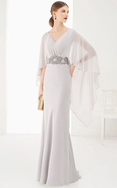 V-neck Bat-sleeve Sheath Dress With Embellished Waist