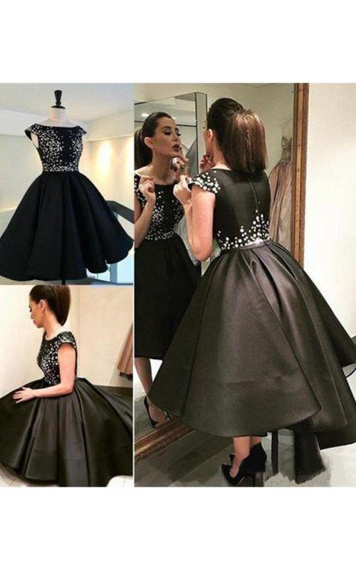 Short Sleeve Ball Gown Tea-length High-low Bateau Pleats Satin Homecoming Dress