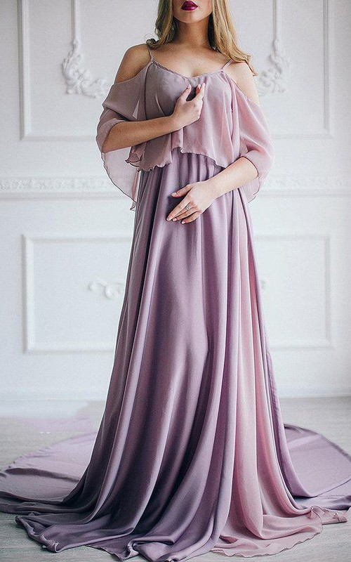 Spaghetti-strap Off-the-shoulder A-line Chiffon Long Dress With Court Train