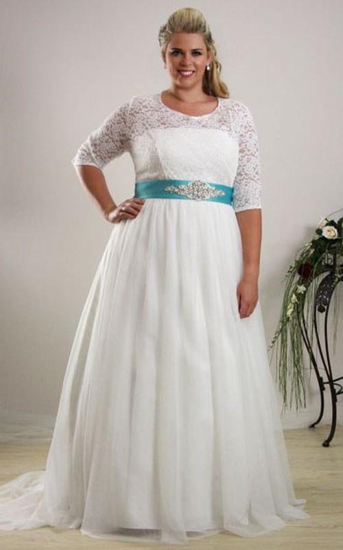Scoop-neck Half Sleeve Lace plus size Wedding Dress With Embellished Waist