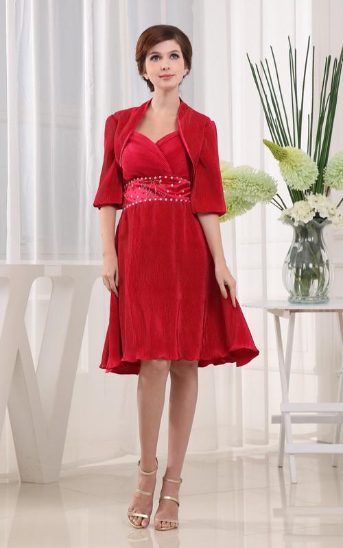 Jeweled Waist Bolero Short-Midi Refined Dress