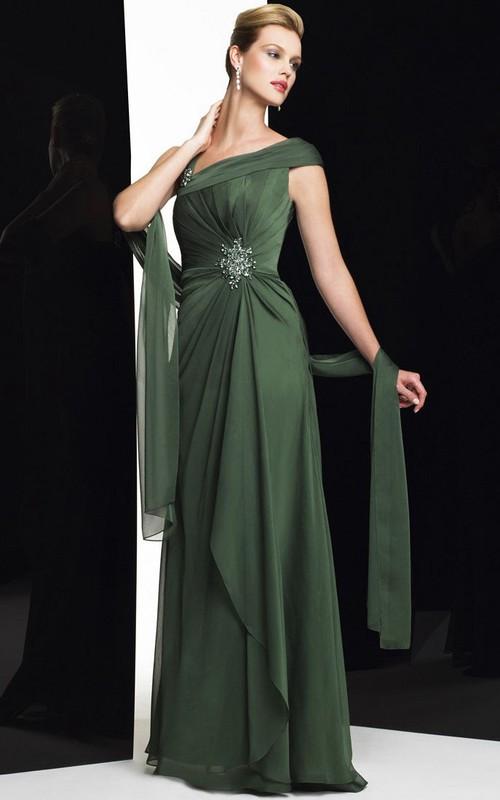 Broach Draping Cap-Sleeve Column Formal Dress