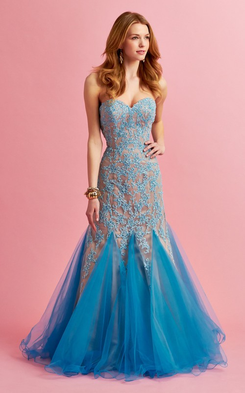 Sweetheart Mermaid Tulle Prom Dress With Appliques And Ruffles