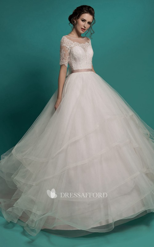 Scoop-Neckline Layers Tulle Lace Appliques Ball-Gown Princess Illusion Dress