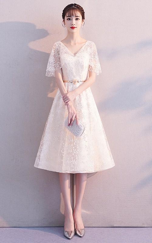 V-neck Lace Knee-length Prom Formal Cocktail Dress