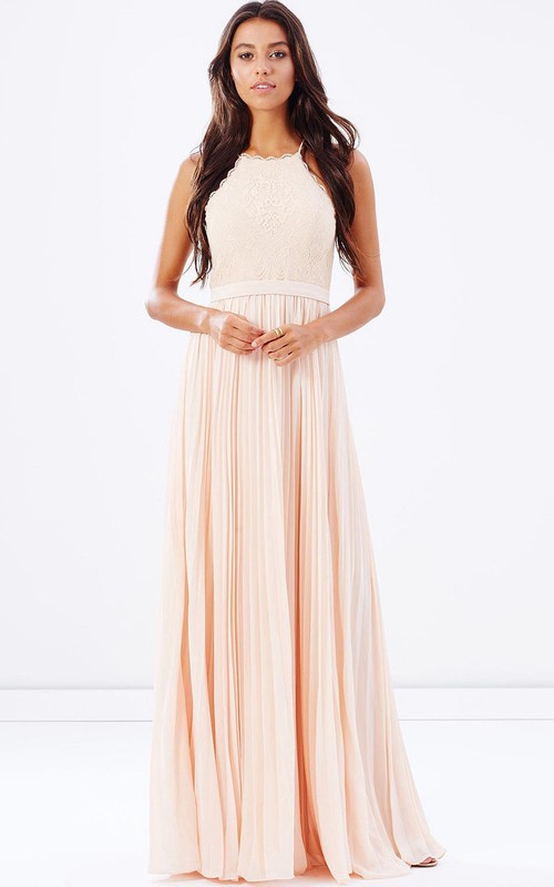 Spaghetti Sleeveless Pleated Dress With Lace And Zipper