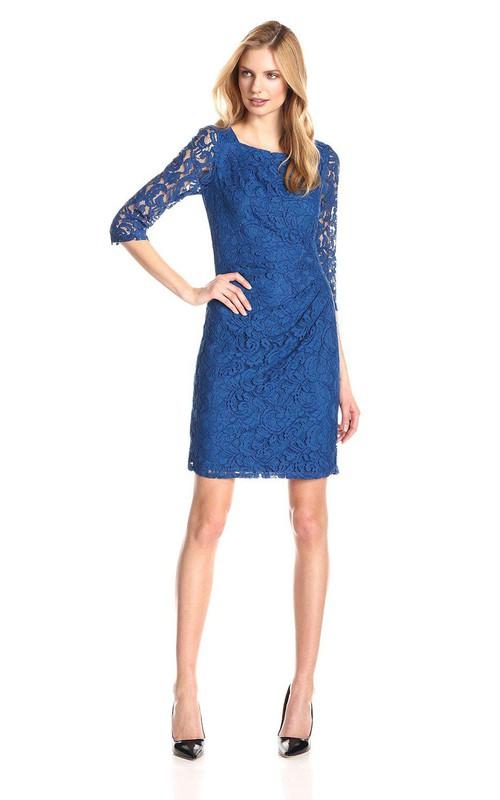Lace Illusion Sleeves High-Neckline Elegant Short Dress
