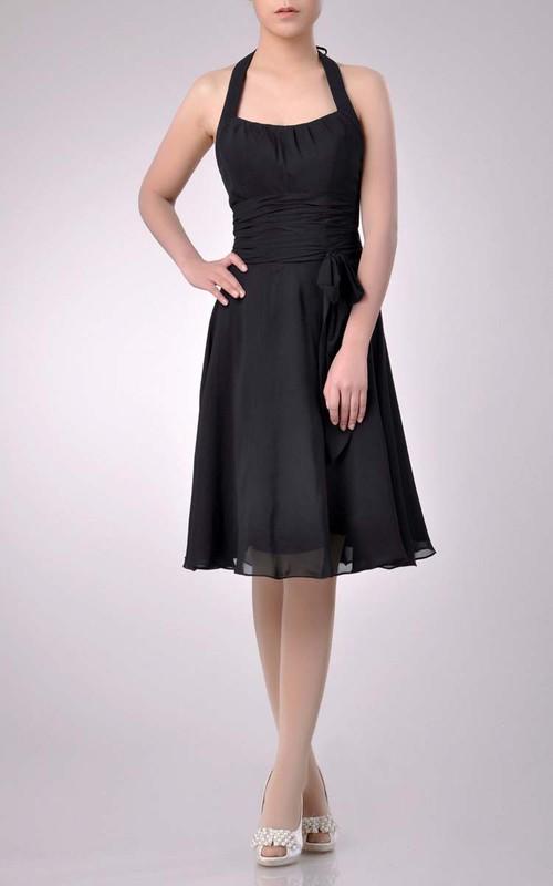 A-Line Ruched Halter Midi-Length Bridesmaid Dress