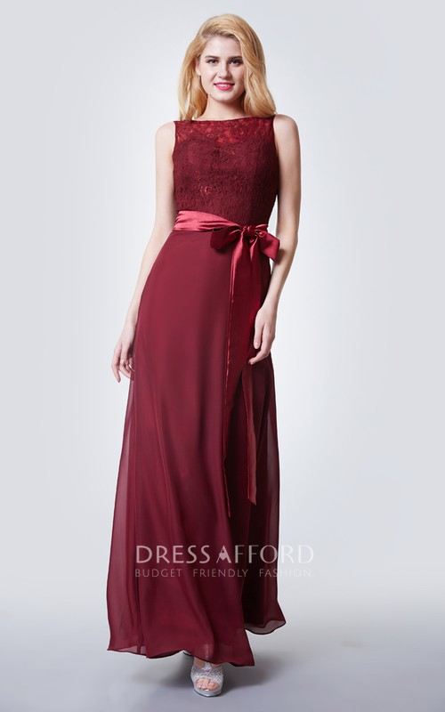 Long Lace Bodice Illusion Sleeveless Dress