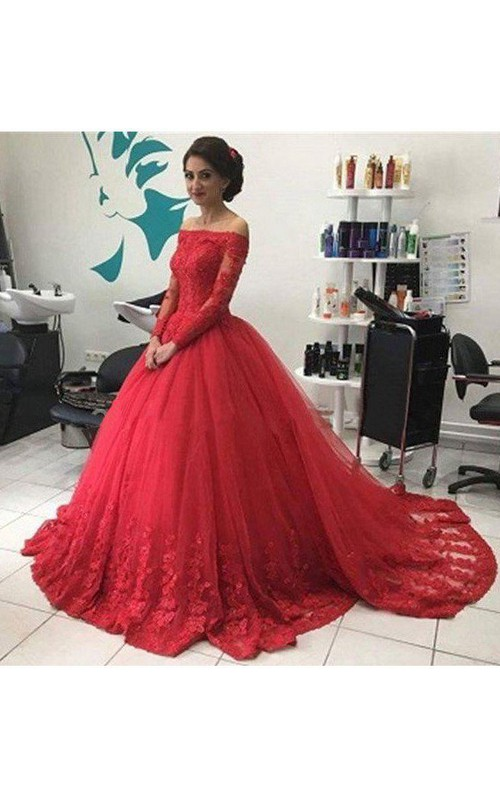 Off-the-shoulder Lace Tulle Long Sleeve Sweep Brush Train Appliques Beading  Dress