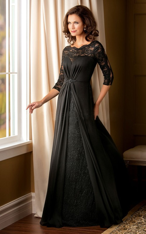 Jewels Illusion Lace Inspire A-Line Long-Sleeved Mother Of The Bride