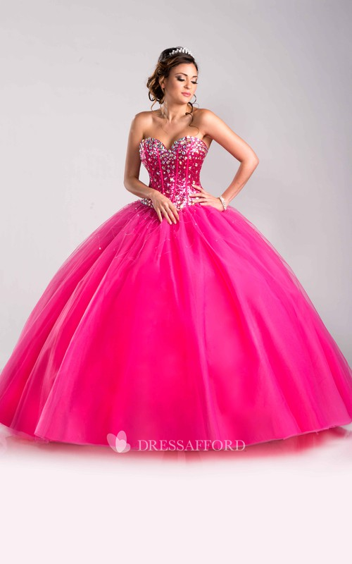 Sweetheart Lace-Up Back Sequined Lace-Up Strapless Tulle Ball Gown