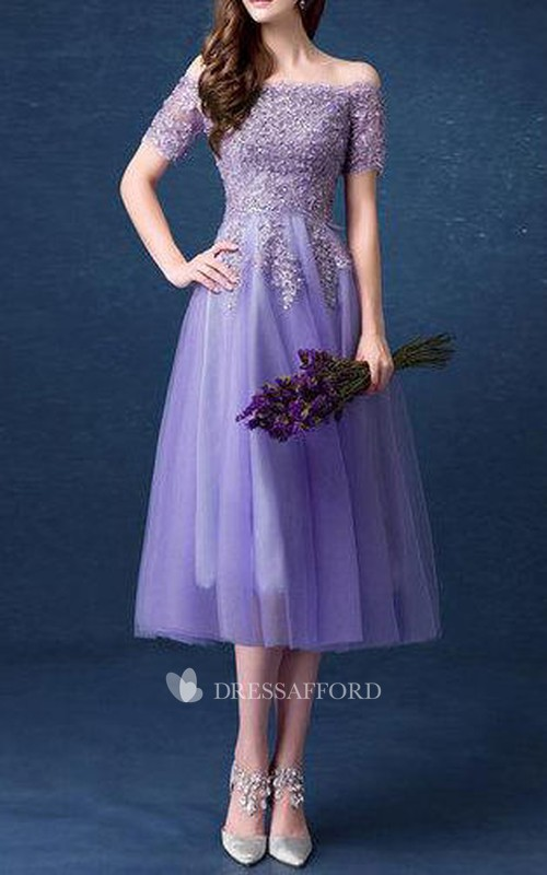 Off-the-shoulder Short Sleeve Tea-length Tulle A-line Dress With Beading