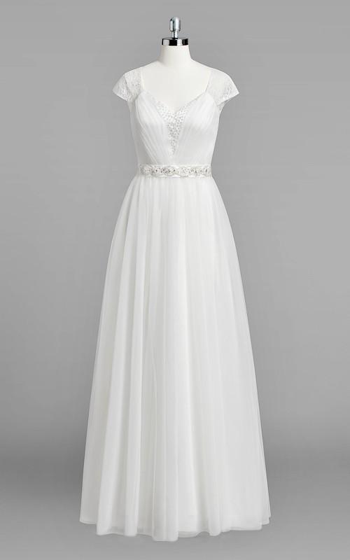 A-Line Rhinestone Wedding Cap-Sleeve V-Neckline Chiffon Gown