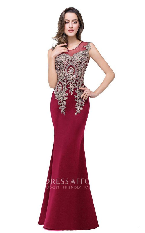 Satin Lace Sleeveless Fishtail Appliqued Long Dress