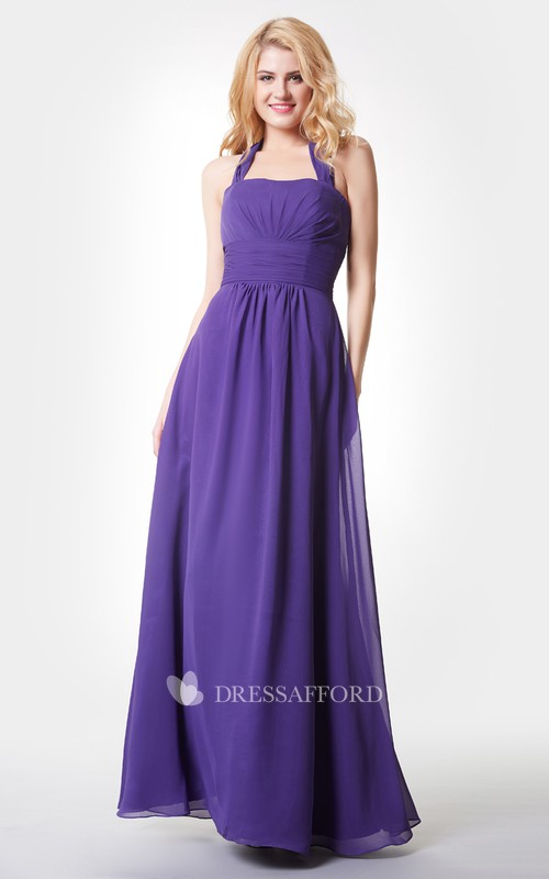 Haltered Chiffon Sleeveless Floor-length Bridesmaid Dress