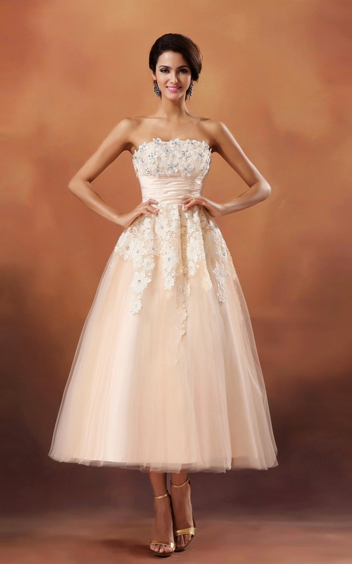 Lace Appliqued Cinched-Waistband-Length Lovely Gown