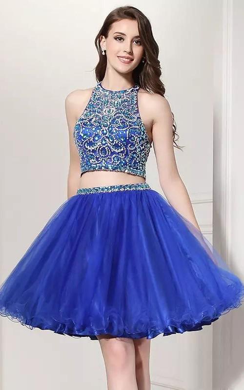Sleeveless Two Piece Short Mini Halter Beading Pleats Lace Homecoming Dress