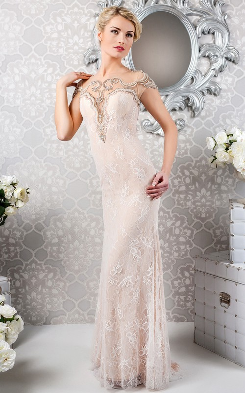 refined Lace Sheath Dress With Illusion And Crystal Detailing