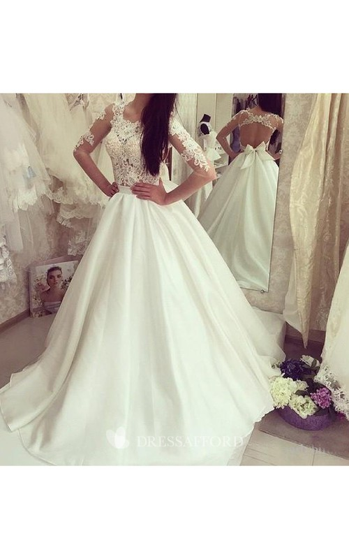Jewel Satin Lace Illusion 3/4 Length Sleeve Wedding Dress