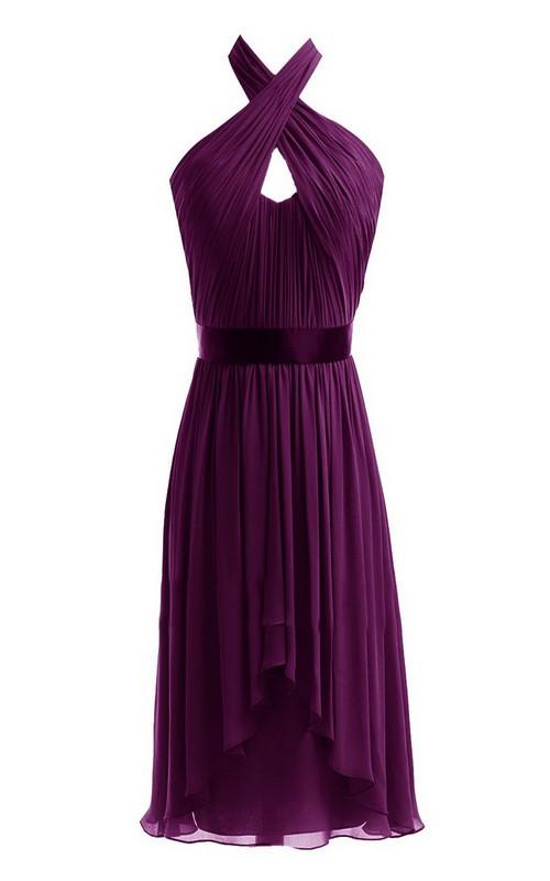Chiffon Keyhole Asymmetrical Sleeveless Dress