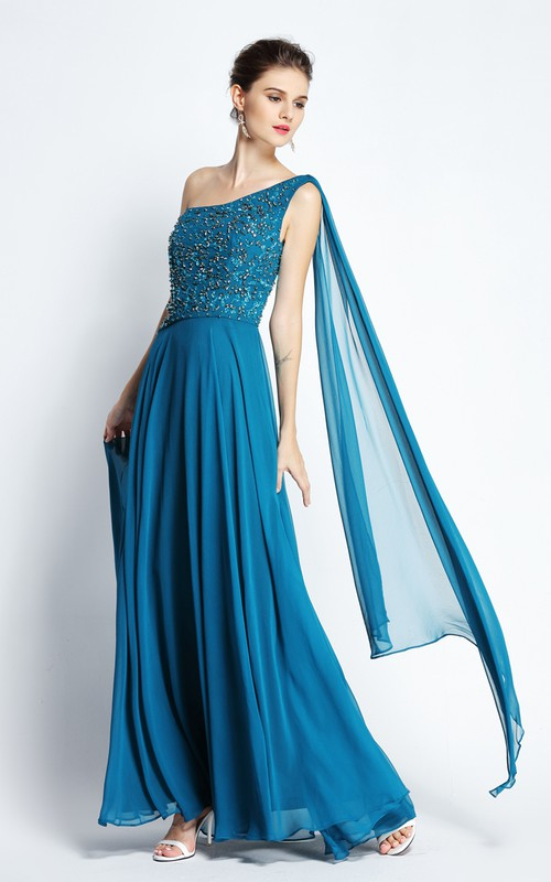 Floor-length A-Line One-shoulder Sleeveless Chiffon Prom Dress with Draping and Pleats
