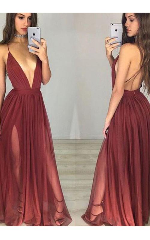 Spaghetti Chiffon Sleeveless Floor-length Pleats Split Front Dress