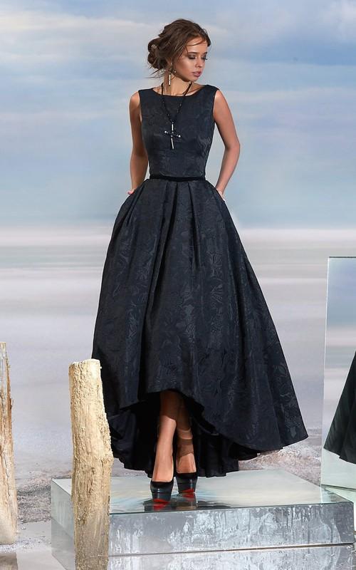 A-line Tea-length High Neck Sleeveless Lace Keyhole Dress