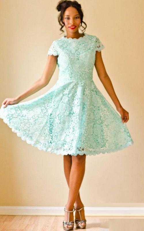 Jewel-Neck Short Sleeve Lace short A-line Dress With Keyhole