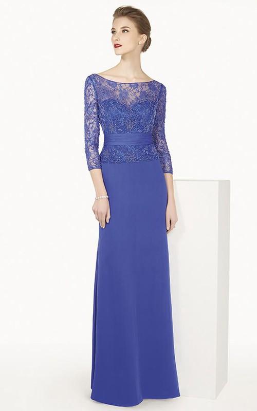 Bateau 3-4-sleeve Sheath evening Dress With Keyhole And Lace top