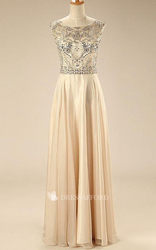 Backless Beaded Cap-Sleeve A-Line Chiffon Dress