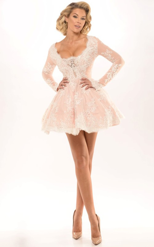 sassy Plunged Long Sleeve Lace Appliqued short Dress