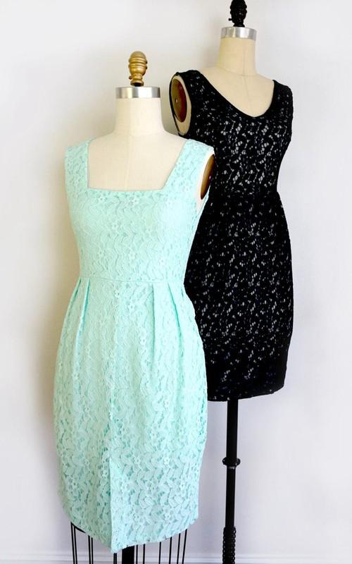Sheath Square V-neck Lace Dress