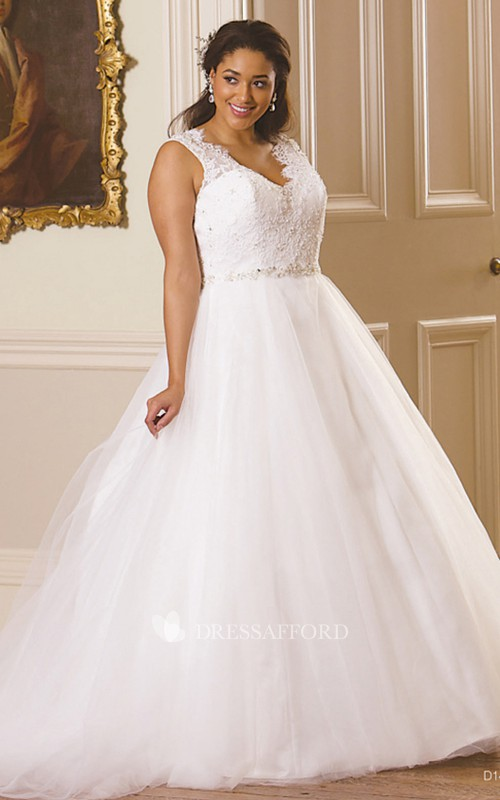 Plunged Sleeveless Tulle Lace Ball Gown With Illusion And Court Train