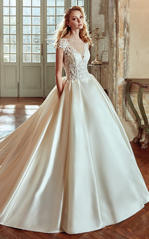 Bateau Cap-sleeve A-line Satin Ball Gown With Appliques And Illusion