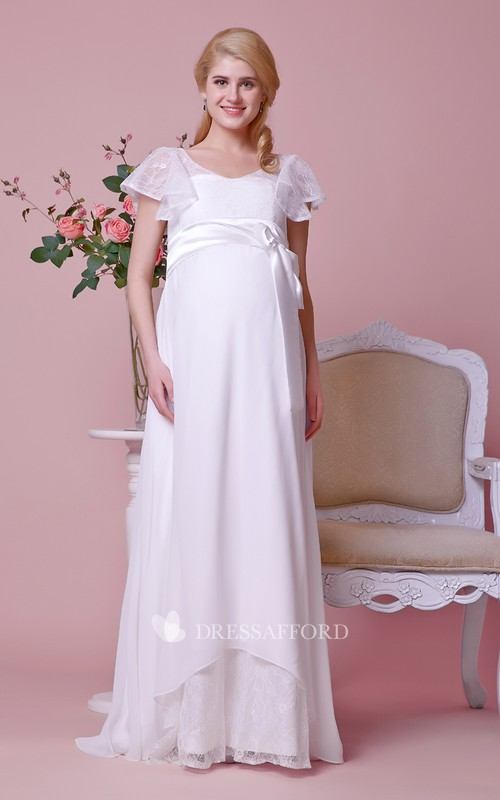 A-Line Lace Bodice Scoop-Neckline Cap-Sleeved Chiffon Gown