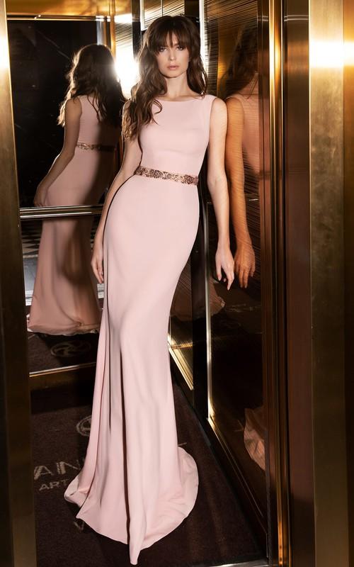 Simple Sleeveless Mermaid Satin Bateau Formal Dress with Beading
