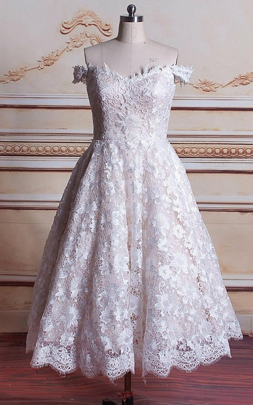 Tulle Satin Off-The-Shoulder Tea-Length Wedding Lace Gown