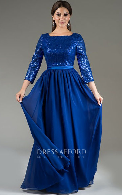 Bateau Long Sleeve Sequined Chiffon Dress
