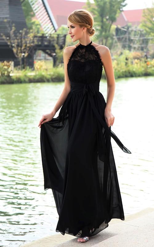 Floor-Length Halter Ribbon Strapless High-Neckline Dress