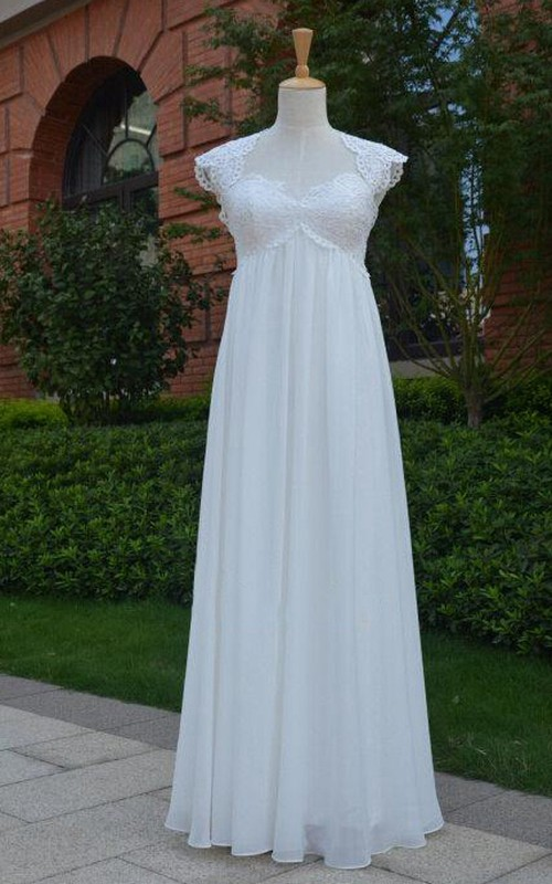 Chiffon Pleated Keyhole Back Cap Queen-Anne Gown