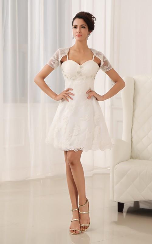 Lace Appliques Sleeveless Sweetheart Dress