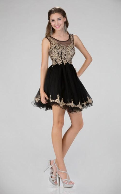 A-Line Short Bateau Sleeveless Illusion Dress With Appliques